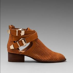 Jeffrey Campbell Tan Everly Perforated Bootie